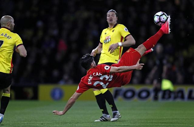 Liverpool's midfielder Emre Can connects with this overhead kick to score against Watford at Vicarage Road Stadium in Watford, north of London on May 1, 2017 (AFP Photo/Adrian DENNIS)