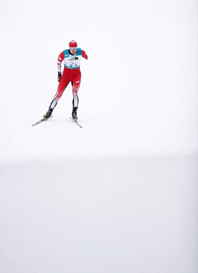 Biathlon - Pyeongchang 2018 Winter Paralympics - Men's 15km - Standing - Alpensia Biathlon Centre - Pyeongchang, South Korea - March 16, 2018 - Mark Arendz of Canada competes. REUTERS/Carl Recine
