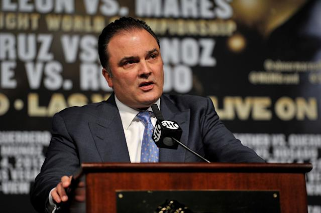 LAS VEGAS, NV - MAY 01: CEO of Golden Boy Promotions Richard Schaefer introduces the final news conference for the bout between Floyd Mayweather Jr. and Robert Guerrero at the MGM Grand Hotel/Casino on May 1, 2013 in Las Vegas, Nevada. Mayweather will defend his WBC welterweight title against Guerrero. (Photo by Jeff Bottari/Getty Images)