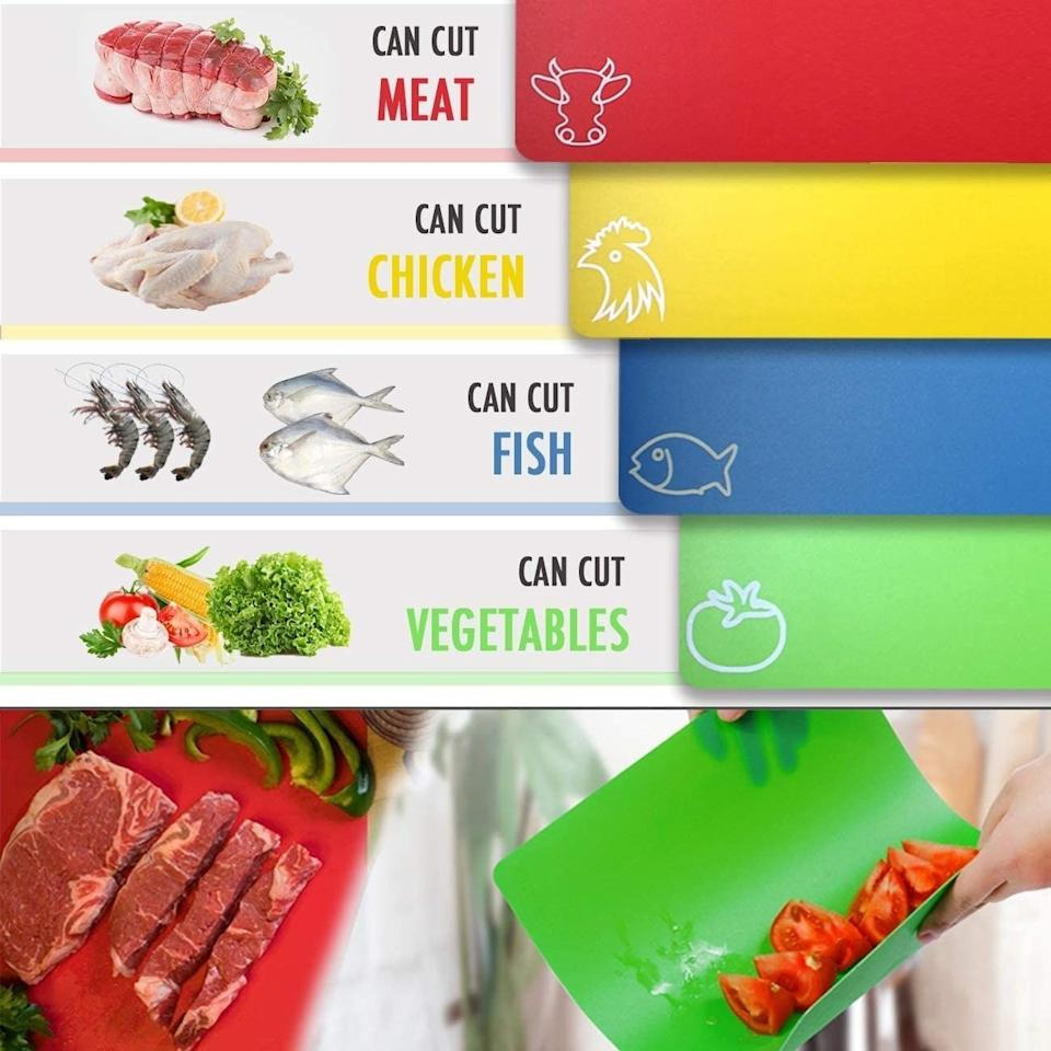 """You can bend the boards into a funnel shape to easily add ingredients to whatever you're cooking. And they have a textured back so they won't slip and slide while you're chopping. Plus, they're color-coded and individually labelled so you won't cross-contaminate in the kitchen: red for meat, green for vegetables, blue for fish, and yellow for fruit.<br /><br /><strong>Promising review:</strong>""""This is the best idea, labeled cutting boards! Now if I could just get my hubby to use them based on their labels that would be great. They are thin and flexible which is perfect for bending to transfer things straight to the pot. I have not noticed I have left any knife marks on the mats yet. I love that they are dishwasher safe and with so many of them I got rid of my gigantic cutting board that didn't fit in the DW. I wish they came in all one color options with the labels, but that's just personal preference."""" —<a href=""""https://www.amazon.com/dp/B083TVRJ8P?tag=huffpost-bfsyndication-20&ascsubtag=5883859%2C32%2C54%2Cd%2C0%2C0%2C0%2C962%3A1%3B901%3A2%3B900%3A2%3B974%3A3%3B975%3A2%3B982%3A2%2C16473456%2C0"""" target=""""_blank"""" rel=""""noopener noreferrer"""">KT Marie</a><br /><strong><br />Get a set of four from Amazon for<a href=""""https://www.amazon.com/dp/B083TVRJ8P?tag=huffpost-bfsyndication-20&ascsubtag=5883859%2C32%2C54%2Cd%2C0%2C0%2C0%2C962%3A1%3B901%3A2%3B900%3A2%3B974%3A3%3B975%3A2%3B982%3A2%2C16473456%2C0"""" target=""""_blank"""" rel=""""noopener noreferrer"""">$11.99</a>(also available in a pack of seven).</strong>"""