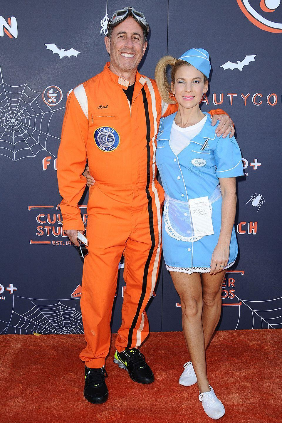 <p>In 2017, Jerry Seinfeld and wife Jessica Seinfeld hit the GOOD+ Foundation's 2nd annual Halloween bash at Culver Studios dressed as a pilot (of sorts) and stewardess pair. Jessica looks more like a waitress...but, oh well.</p>