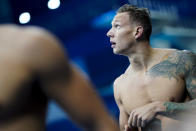 Caeleb Dressel, of United States, after winning a men's 100-meter butterfly semifinal at the 2020 Summer Olympics, Friday, July 30, 2021, in Tokyo, Japan. (AP Photo/David Goldman)