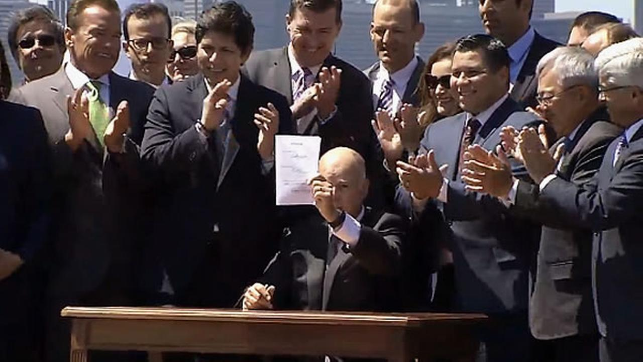 Governor Jerry Brown signed a landmark climate bill Tuesday on Treasure Island,  which would extend the state's cap-and-trade program.