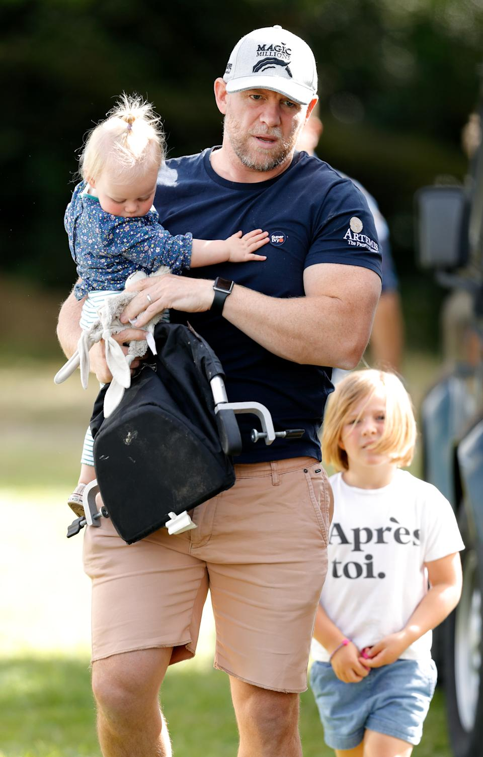 STROUD, UNITED KINGDOM - SEPTEMBER 15: (EMBARGOED FOR PUBLICATION IN UK NEWSPAPERS UNTIL 24 HOURS AFTER CREATE DATE AND TIME) Mike Tindall and daughters Lena Tindall and Mia Tindall attend day 3 of the Whatley Manor Gatcombe International Horse Trials at Gatcombe Park on September 15, 2019 in Stroud, England. (Photo by Max Mumby/Indigo/Getty Images)