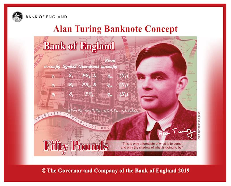 A mock-up image of Alan Turing on the new £50 note. Photo: Bank of England