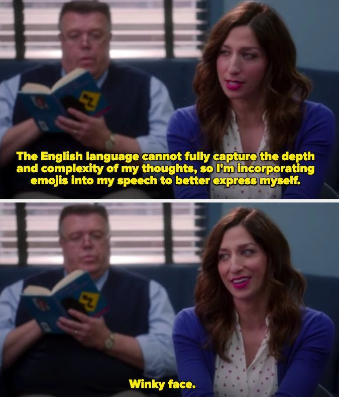 """Gina saying """"The English language cannot fully capture the depth and complexity of my thoughts, so I'm incorporating emojis into my speech to better express myself. Winky face."""""""