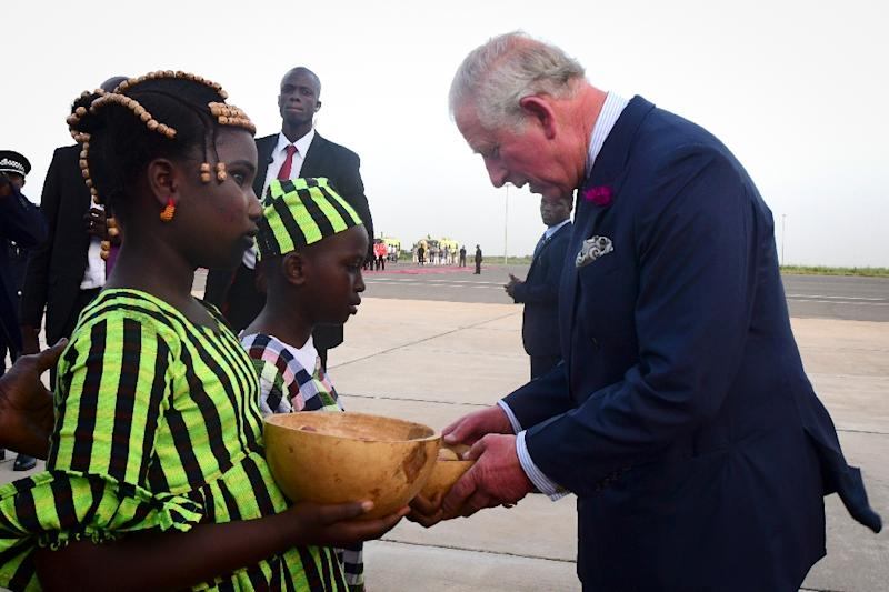 Britain's Prince Charles Prince of Wales is making his first visit to The Gambia