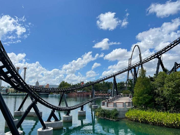VelociCoaster roller coaster tracks looping and stretching across water