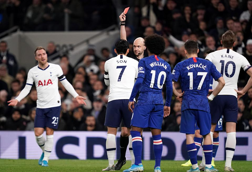 Tottenham Hotspur's Son Heung-min is shown a red card by referee Anthony Taylor Tottenham Hotspur v Chelsea - Premier League - Tottenham Hotspur Stadium 22-12-2019 . (Photo by  John Walton/EMPICS/PA Images via Getty Images)