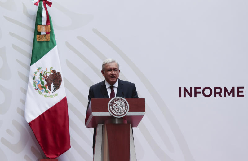 "Mexican President Andres Manuel Lopez Obrador speaks at the National Palace in Mexico City, Sunday, April 5, 2020. López Obrador spoke to the nation about his economic recovery plan. The President, however, has labeled the situation a ""transitory crisis"" and says things will be good again soon. Mexico's government has broadened its shutdown of ""non essential activities,"" and prohibited gatherings of more than 50 people as a way to help slow down the spread of COVID-19. (AP Photo / Eduardo Verdugo)"