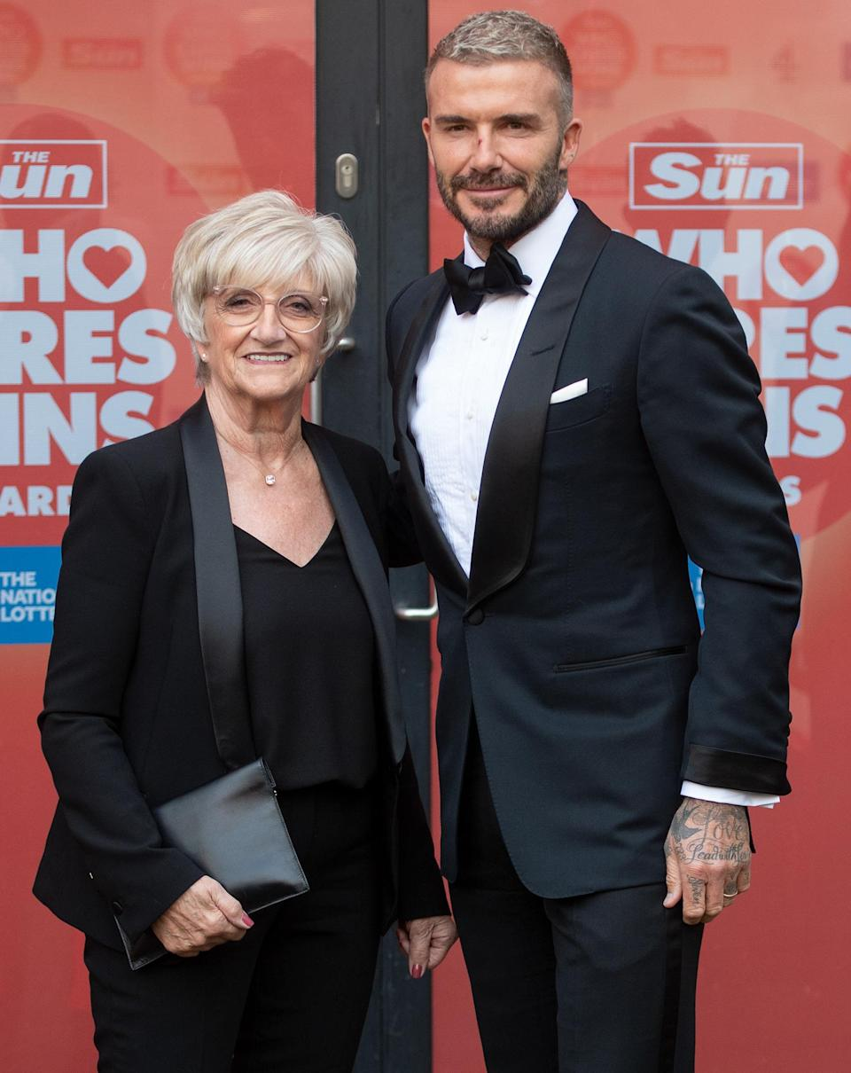 <p>David Beckham and mom Sandra Beckham attend the <em>Sun</em>'s Who Cares Wins Awards at The Roundhouse on Sept. 14 in London.</p>
