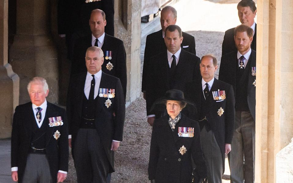 The Prince of Wales and Duke of Cambridge are joined by members of the Royal family at the Duke of Edinburgh's funeral - WireImage