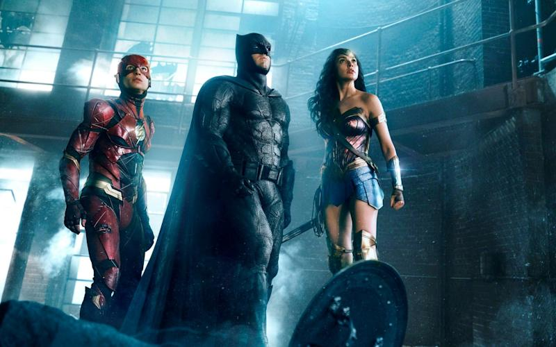 The Flash (Ezra Miller), Batman (Ben Affleck) and Wonder Woman (Gal Gadot) in Justice League - Warner Bros Pictures.