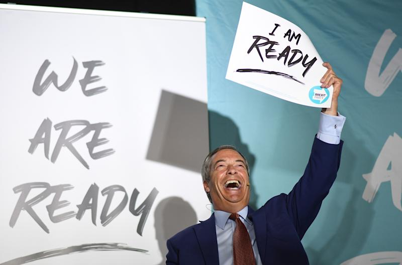 Brexit Party leader Nigel Farage speaks during the party's 'We Are Ready' event at Colchester United Football Club in Essex.