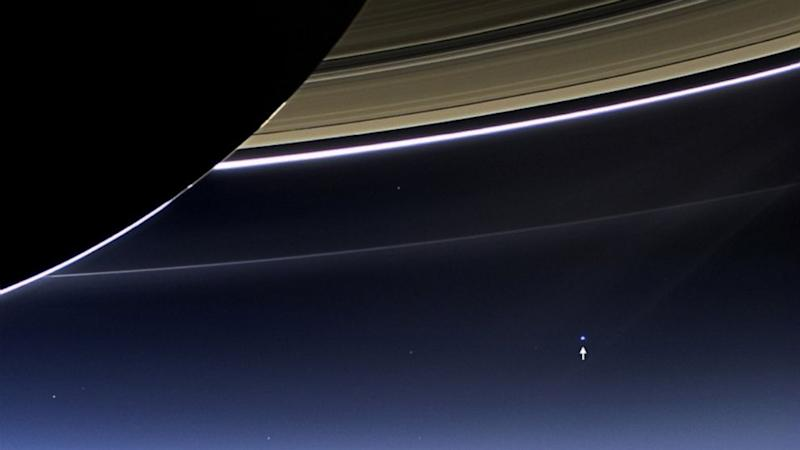 Earth Strikes a Pose Beneath Saturn's Rings