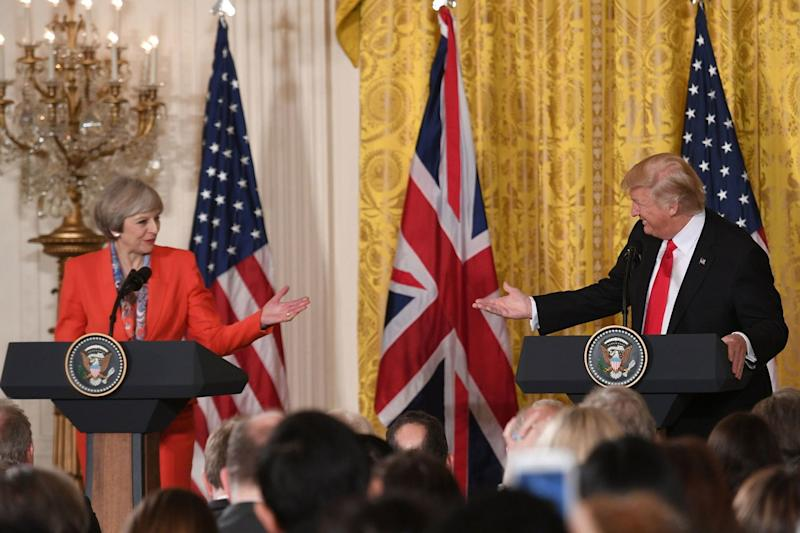 Theresa May and Donald Trump at joint press conference at the White House in 2017 (PA)