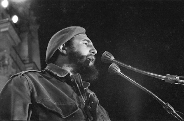 <p>Fidel Castro, who held power in communist Cuba for nearly 50 years, died at 90 on November 25. His death was outright celebrated by some, while others wrestle with his legacy of leadership. — (Pictured) Fidel Castro speaks during the first demonstration in support of the Revolution in Havana, in front of the old Presidential palace in 1959. (Gilberto Ante/Roger Viollet/Getty Images) </p>