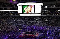 A photo of Gianna and Kobe was displayed inside the arena as people continued to enter.
