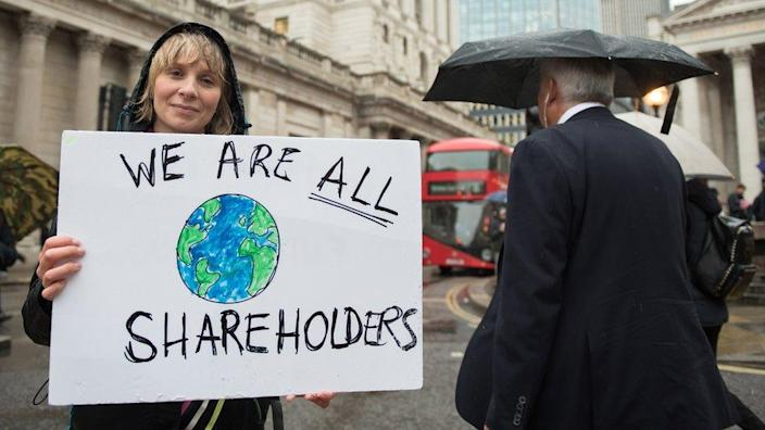 Extinction Rebellion protestor outside of the Bank of England in 2019.