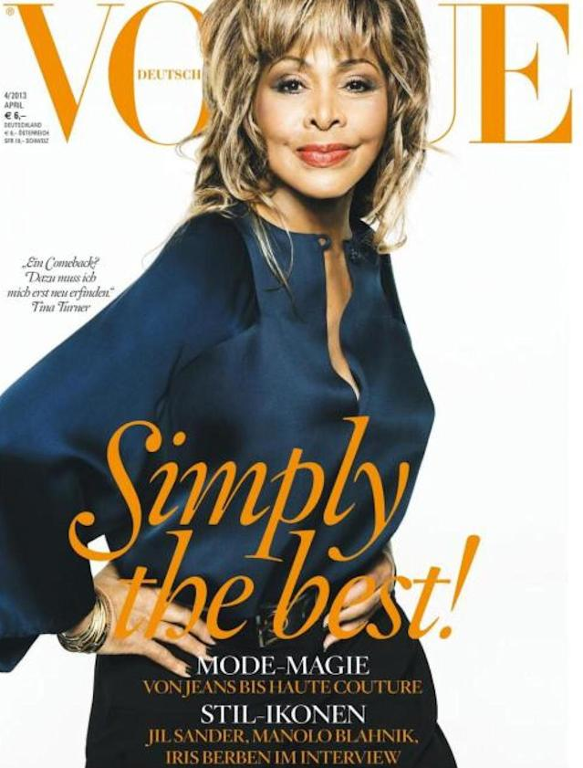 <p>Turner had previously held the title of oldest woman on the cover of a magazine when she appeared on <em>Vogue</em> Germany at 73 years old back in April 2013. (Photo: Vogue Germany) </p>