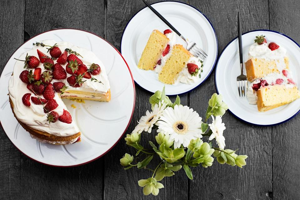 "You could make individual shortcakes or you could make this large-format, thyme-scented show-stopper, which makes a beautiful centerpiece dessert—and is <a href=""https://www.epicurious.com/recipes-menus/upgrade-easy-strawberry-shortcake-make-ahead-article?mbid=synd_yahoo_rss"" rel=""nofollow noopener"" target=""_blank"" data-ylk=""slk:designed to feed a crowd"" class=""link rapid-noclick-resp"">designed to feed a crowd</a>. Melted butter in the genoise-style pastry makes it extra tender. <a href=""https://www.epicurious.com/recipes/food/views/strawberry-shortcake-with-thyme-and-whipped-cream?mbid=synd_yahoo_rss"" rel=""nofollow noopener"" target=""_blank"" data-ylk=""slk:See recipe."" class=""link rapid-noclick-resp"">See recipe.</a>"