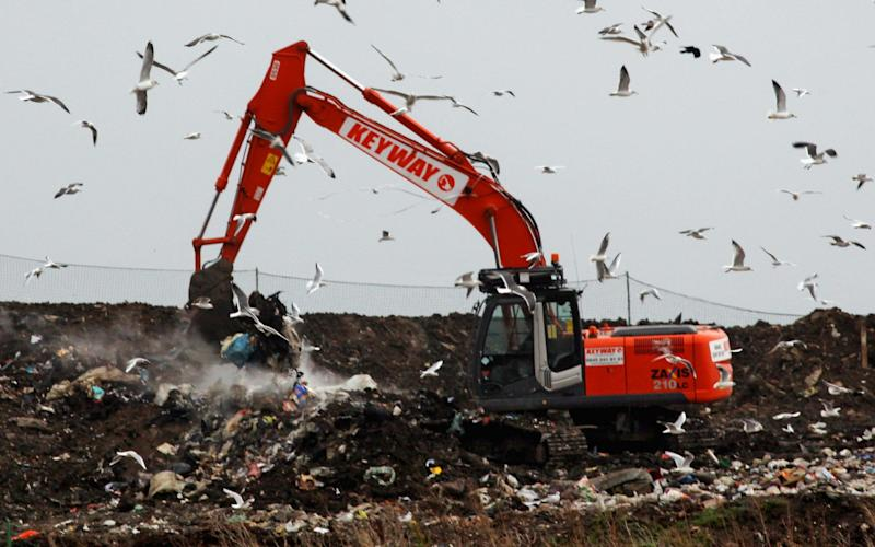 A landfill site in Gloucester. Around £2bn of surplus products are wasted every year by companies which could be donated to charities. - Getty Images Europe