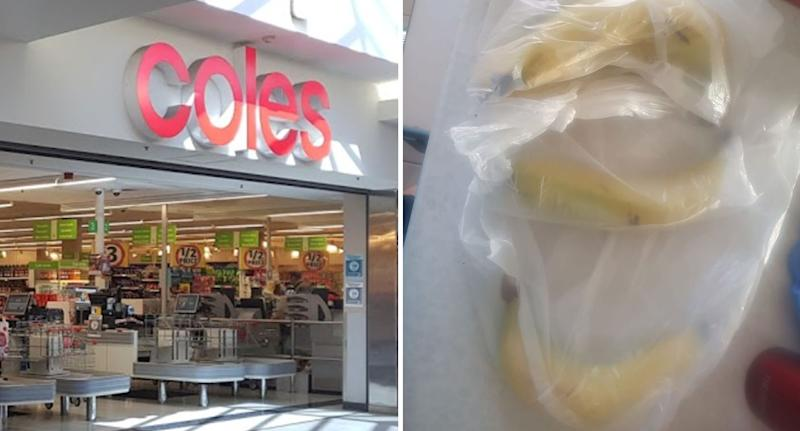 Coles Gawler, South Australia, and bananas individually wrapped in plastic bags.