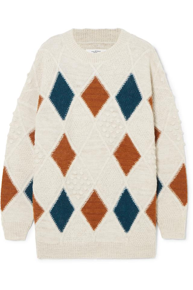 """<p>""""This oversized sweater is perfect with my favorite jeans or trousers on the cold blustery days of winter ahead.""""—<em>Kristina Rutkowski, Market Editor</em></p><p>Buy it <a rel=""""nofollow"""" href=""""https://click.linksynergy.com/fs-bin/click?id=93xLBvPhAeE&subid=0&offerid=531417.1&type=10&tmpid=6894&RD_PARM1=https%3A%2F%2Fwww.net-a-porter.com%2Fus%2Fen%2Fproduct%2F987965%2FIsabel_Marant_Etoile%2Fgink-argyle-alpaca-blend-sweater&u1=IS%2CFAS%2CGAL%2CWhatInStyleEditorsBoughtinDecember%2Cbennetta%2C201801%2CT"""">here</a> for $495.</p>"""
