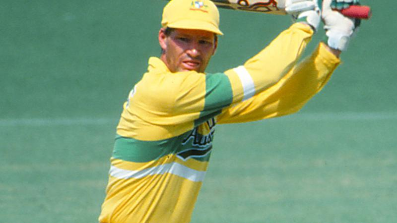 Dean Jones, pictured here in action for Australia during a one-day international in 1990.