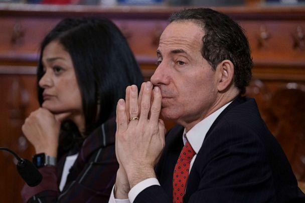 PHOTO: Rep. Jamie Raskin, D-Md., joined at left by Rep. Pramila Jayapal, D-Wash., listens to testimony from legal scholars during a House Judiciary Committee hearing on impeachment on Capitol Hill in Washington, Wednesday, Dec. 4, 2019. (J. Scott Applewhite/AP)