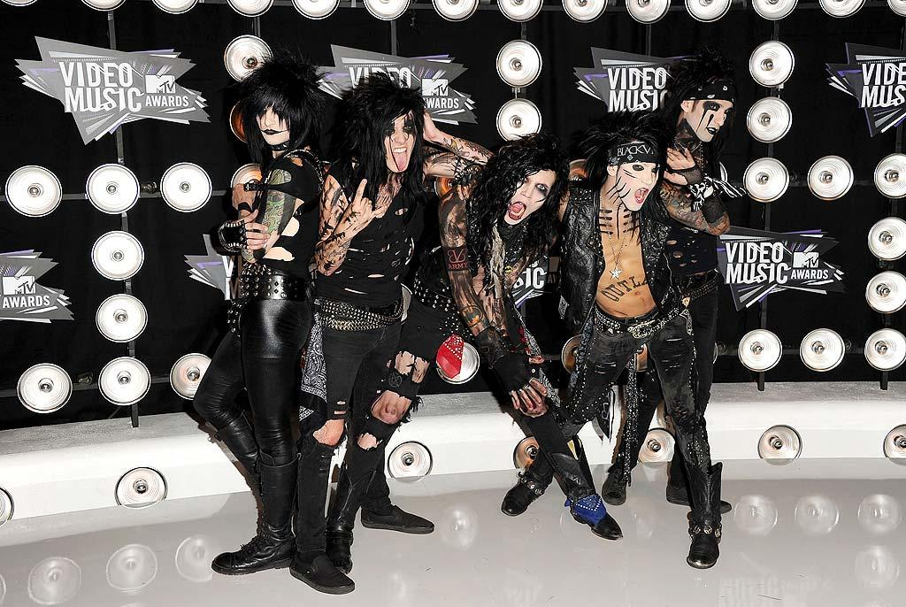 "Attention-starved rockers Black Veil Brides sported their signature ensembles and more makeup than we've ever seen. Jason Merritt/<a href=""http://www.gettyimages.com/"" target=""new"">GettyImages.com</a> - August 28, 2011"
