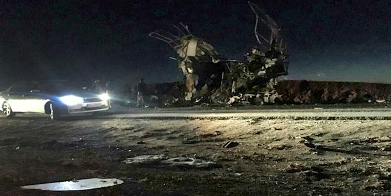 The scene of the suicide attack on February 13, 2019  on a Revolutionary Guards bus in southeastern Iran