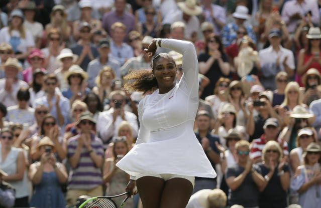 "<a class=""link rapid-noclick-resp"" href=""/olympics/rio-2016/a/1132744/"" data-ylk=""slk:Serena Williams"">Serena Williams</a> of the United States celebrates defeating Germany's Julia Gorges in their women's singles semifinal match at the Wimbledon Tennis Championships in London on Thursday. (AP Photo/Tim Ireland)"