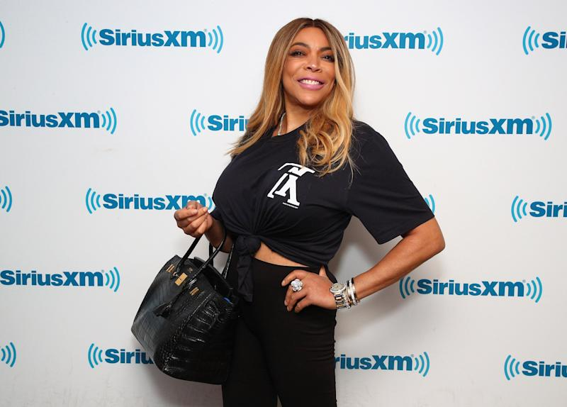 Wendy Williams poses in front of a SiriusXm wall
