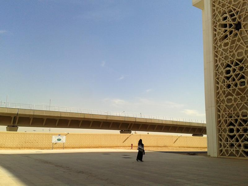 This undated 2013 photo shows Princess Nora University in Riyadh, where female-only students and staff have access to four metro lines to move around the 800 hectare (almost 2000 acre) campus in privacy without needing to wear a head scarf or traditional black abaya. Within their female-only campus grounds, women at Saudi Arabia's universities let loose, with trendy sneakers, colorful tops, a myriad of hairstyles. But in every student's bag is the black abaya robe they must cover themselves with when they step out of the university gates. The kingdom has spent billions to improve women's education, part of a broader drive to educate young Saudis for the workforce, but rights advocates say it will mean little as long as heavy restrictions on women remain. (AP Photo)