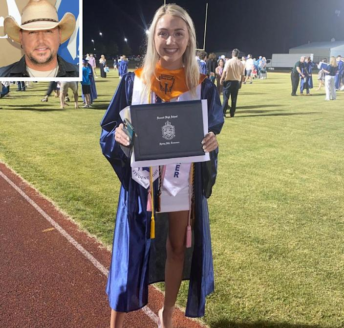 """<p>On May 22, the country star <a href=""""https://people.com/country/jason-aldean-daughter-keeley-graduates-high-school/"""" rel=""""nofollow noopener"""" target=""""_blank"""" data-ylk=""""slk:shared an Instagram"""" class=""""link rapid-noclick-resp"""">shared an Instagram</a> photo of his 18-year-old daughter <a href=""""https://www.instagram.com/p/Bt3cikKBKFw/"""" rel=""""nofollow noopener"""" target=""""_blank"""" data-ylk=""""slk:Keeley"""" class=""""link rapid-noclick-resp"""">Keeley</a> holding up her high school diploma while at her graduation ceremony.</p> <p>""""Hard to believe this kid graduated from high school tonight. Really excited to see what the next chapter in life holds for her,"""" wrote Aldean, who shares Keeley and 13-year-old <a href=""""https://www.instagram.com/p/BmtStubgUyQ/"""" rel=""""nofollow noopener"""" target=""""_blank"""" data-ylk=""""slk:Kendyl"""" class=""""link rapid-noclick-resp"""">Kendyl</a> with ex-wife Jessica Ann Ussery.</p> <p>""""Your future is what u make it, so go get em Keeley,"""" he added. """"We love you!""""</p> <p>Keeley is headed to Belmont University in Nashville.</p>"""
