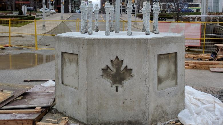 Base built as Windsor's Great Canadian Flag Project begins to take shape