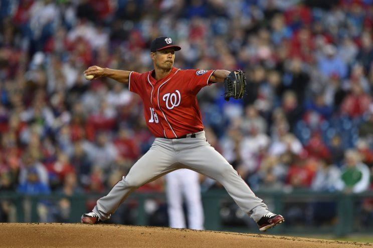 Washington Nationals starting pitcher Jeremy Guthrie in action during a baseball game against the Philadelphia Phillies, Saturday, April 8, 2017, in Philadelphia. (AP Photo/Derik Hamilton)