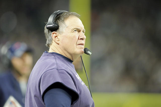 New England Patriots head coach Bill Belichick, in his preferred, sleeves-chopped sweatshirt, stubbornly refused to play CB Malcolm Butler in Super Bowl LII, but it's hard to overlook Belichick's long run of success. (AP)