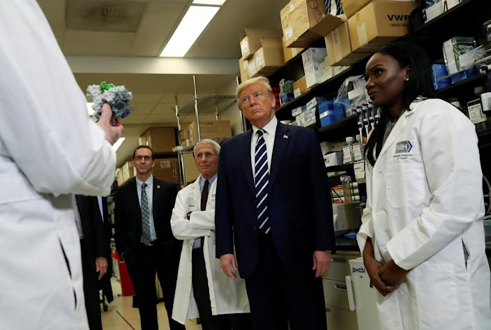 Image: U.S. President Trump participates in briefing at National Institutes of Health Vaccine Research Center in Bethesda, Maryland (Leah Millis / Reuters)