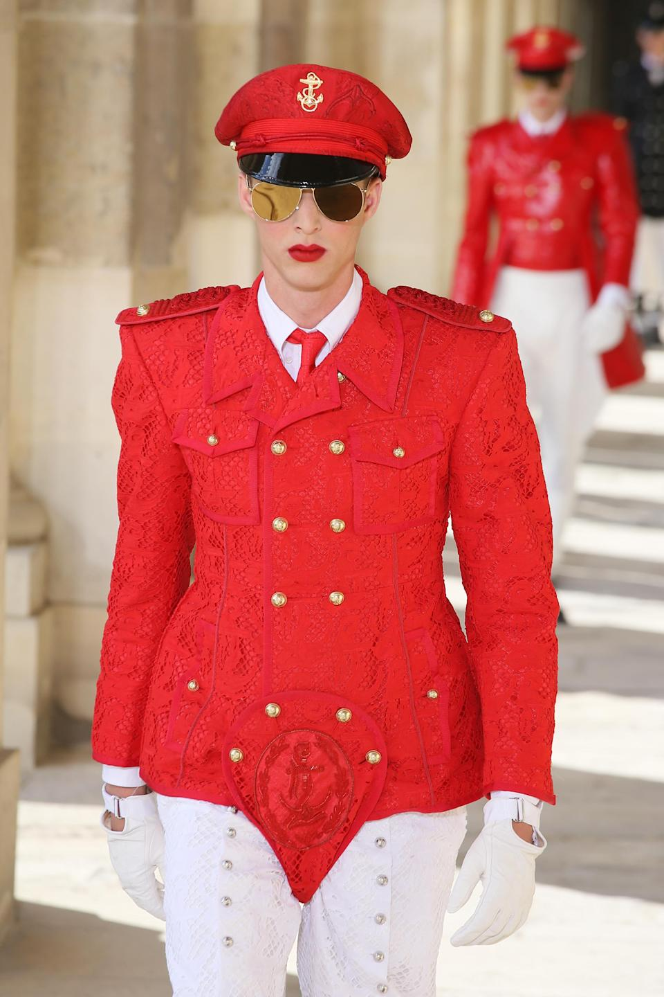 """<div class=""""caption-credit"""">Photo by: Victor Boyko/Getty Images</div>You are looking at the future of menswear, people. It was only a year ago that the boldest men's runway look was a maxi skirt. On Sunday, Thom Browne made the leap to fire-engine-red male leotards. How far we've come. Let's revisit this show in a few slides, once you've recovered from the initial shock, shall we? <br>"""