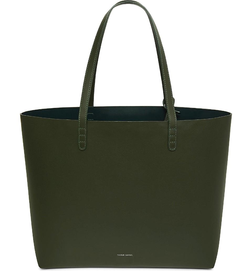 <p>The color of this <span>Mansur Gavriel Oversize Lambskin Leather Tote</span> ($695) is so stunning. Nobody will mistake their bag for yours.</p>