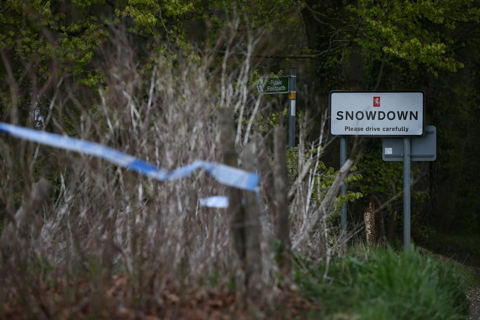 AYLESHAM, ENGLAND - MAY 02: Police forensic tape near Ackholt Wood on May 2, 2021 in Snowdon, near Aylesham, England. The body of PCSO Julia James, 53, was discovered in the area on Tuesday afternoon. Her Jack Russell dog, Toby, was waiting by her side. So far police have no motive or suspects for her death. She was not in uniform when she was killed. (Photo by Hollie Adams/Getty Images)