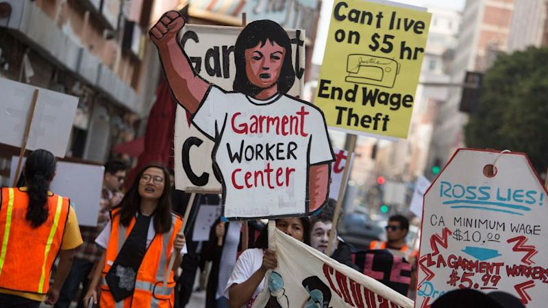 Garment workers rally in downtown Los Angeles in 2016 to demand an end to wage theft