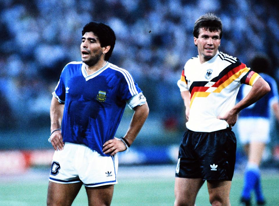 ROME, ITALY - JULY 08: Diego Maradona of Argentina and Lothar Matthaeus of West Germany are seen during the FIFA World Cup Italy Final match between West Germany and Argentina at the Stadio Olympico on July 8, 1990 in Rome, Italy. (Photo by Etsuo Hara/Getty Images)