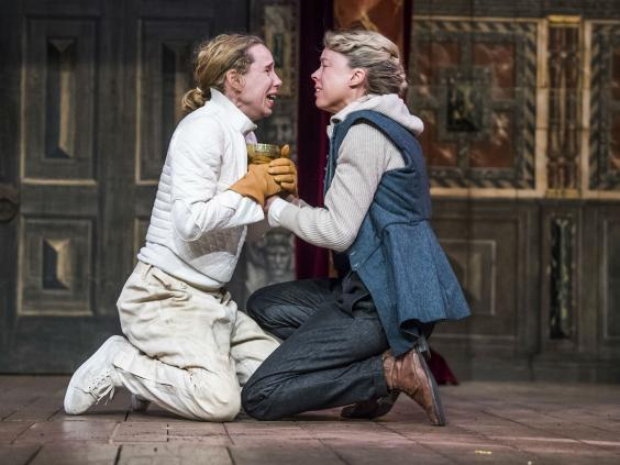 Michelle Terry as Hamlet and Catrin Aaron as Horatio in 'Hamlet' at the Globe, 2018 (Tristram Kenton)