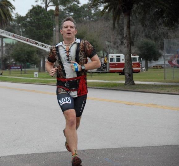 """<p>Running a marathon reminds me that I can accomplish great things when my mind, body, and spirit are connected. The strength I feel at the finish line is what I draw on when I face the rest of life's challenges.</p><p><i>—Chris Twiggs, 44, Fernandina Beach, Florida (pictured during a pirate-themed race). Finisher of 60 marathons and several ultramarathons, International Program Director for <a href=""""http://www.jeffgalloway.com/training/"""" rel=""""nofollow noopener"""" target=""""_blank"""" data-ylk=""""slk:Galloway Training Programs"""" class=""""link rapid-noclick-resp"""">Galloway Training Programs</a>.</i></p>"""