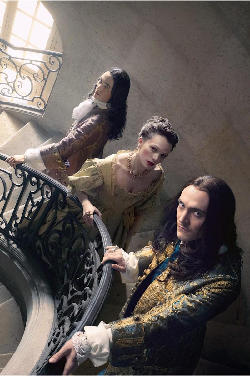 Back in action: Alexander Vlahos, Anna Brewster and George Blagden as Phillipe, Madame de Montespan and Louis XIV (BBC/ Canal+)