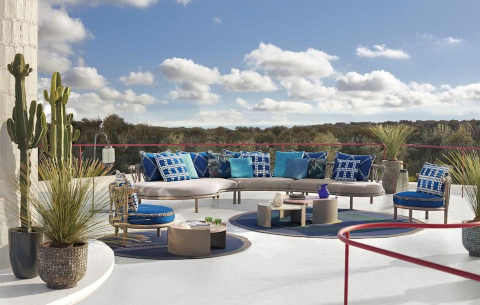 """<p>It was during a trip to Greenland that Cassina's art director Patricia Urquiola noticed trampolines outside the houses. 'I found they were so joyful,' she says. When creating her latest range of outdoor furniture collection, she wanted to reproduce that carefree feeling. From £2,430 for an armchair, <a href=""""https://www.cassina.com/it/en/products/product-page.trampoline-divano.html"""" rel=""""nofollow noopener"""" target=""""_blank"""" data-ylk=""""slk:Cassina"""" class=""""link rapid-noclick-resp"""">Cassina</a></p>"""