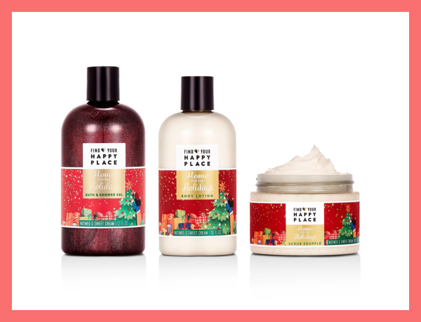 Find Your Happy Place Home for the Holiday Nutmeg & Sweet Cream Deluxe Bath Collection. (Photo: Walmart)